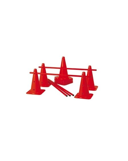 Lot de 10 cônes 12 trous 40cm + 5 jalons