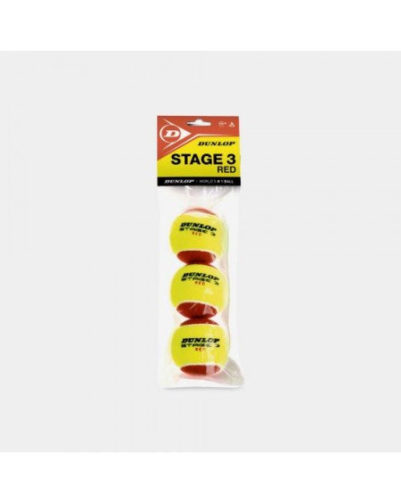 DUNLOP BALLES STAGE 3 ROUGE ( x3 )